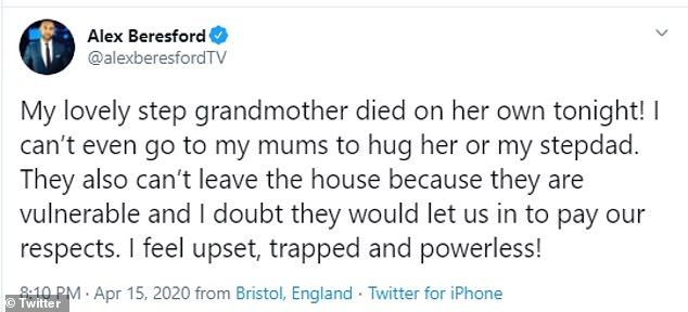 `` Upset and trapped '': weather presenter revealed sad news to his fans on Twitter, explaining that his stepmother died `` of herself '' during the lockout