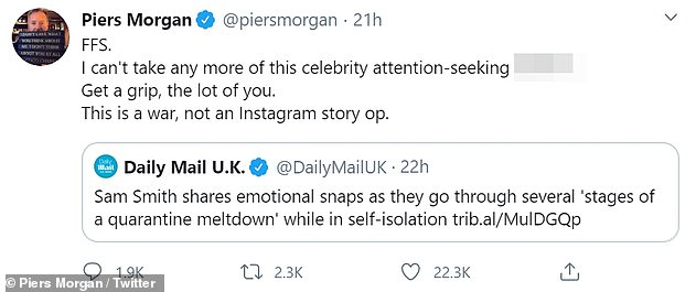 Slammed: Speaking to Twitter to share his reaction to Sam's photos, Piers did not mince words saying: `` I can no longer bear this celebrity who seeks attention ***** t ''