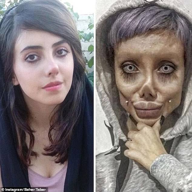 Sahar Tabar, 19 (left), an Iranian Instagram star famous for posting heavily-doctored images of herself looking like Zombie Angelina Jolie online (right), has been freed from jail