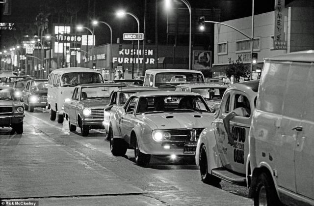 'That's what the boulevard looked like all the time – at least on Wednesday night,' McCloskey said of the above image. By the time he was documenting the scene in 1972, anything went as far as vehicles were concerned and people drove what they owned down the boulevard: hot rods, 1940s and 1950s vehicles, Volkswagens and Toyotas,' he said. 'You saw this transformation of what kind of cars people drove. ... there was a range of like 40 years of automobiles'.