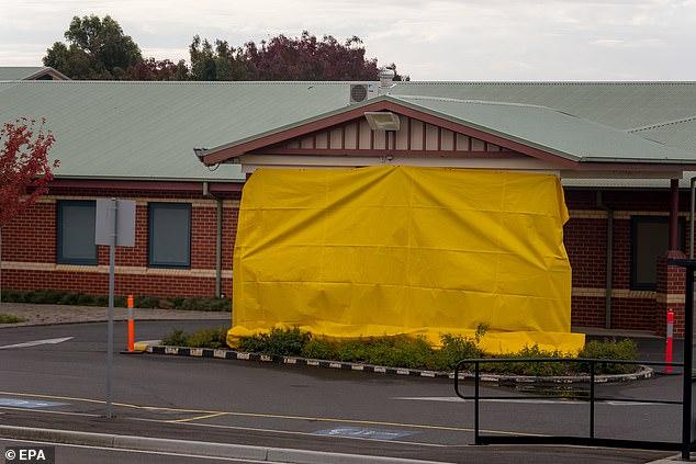 Exterior appearance at closed entrance to Northwest Regional Hospital in Burnie, Tasmania, Australia, April 14, 2020.