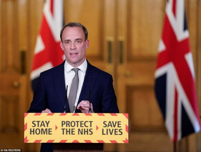 Prime Minister would issue orders to the First Secretary of State, Dominic Raab, who replaces him in public, as well as to his key aides through a series of calls