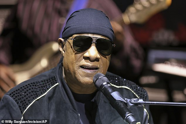 Caption: Stevie Wonder, 69, participated in the One World: Together At Home concert which was broadcast on several networks and streaming services on Saturday