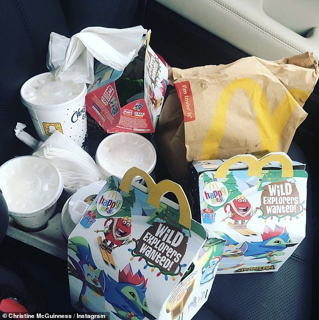 Missing McDonald's: The Real Housewives of Cheshire star posted a photo of a caterer for the fast food chain when she revealed that two of her children were
