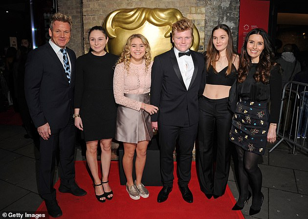 Close family: Gordon moved to Cornwall with his family - daughter Megan, 22, twins Jack and Holly, 20, daughter Matilda, 18 and wife Tana, 45 (left to right)