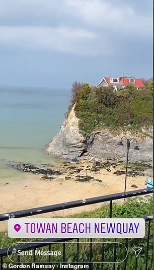 Smoothly: the Hell's Kitchen star then shared a series of clips overlooking Towan Beach in Newquay as he stopped to rest before covering the 18 km from his home