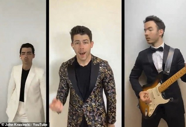 Rocking out: Joe performed with the Jonas Brothers on Jon Krasinski's YouTube series, Some Good News, Friday, with special guest Billie Eilish
