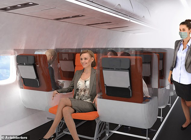 The Janus conceptwould see the middle seat of a row placed in a reverse position, which Aviointeriors says will 'ensure maximum isolation between passengers'