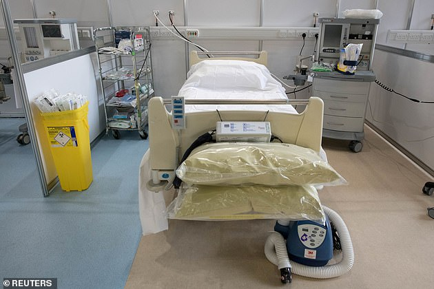 A hospital bed and a respirator are shown inside the ExCeL center in London, where so far 41 patients have been treated for the deadly virus