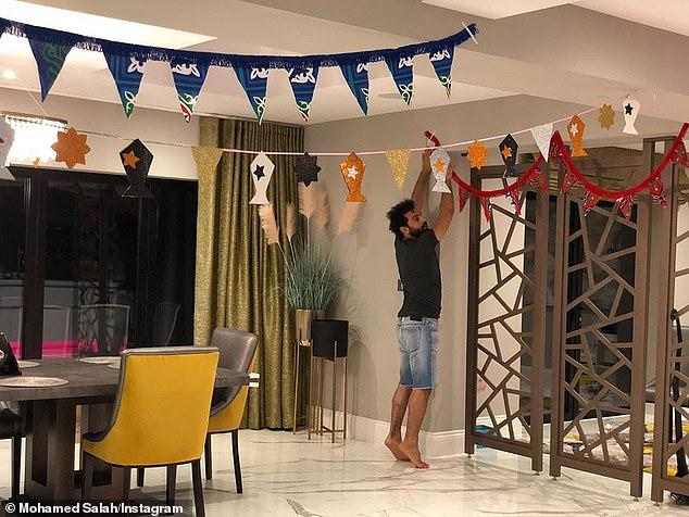 Mohamed Salah hung symbolic lanterns at his house to mark the start of Ramadan