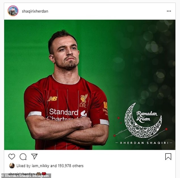 Another devoted Muslim who will participate in the holy period is Xherdan Shaqiri