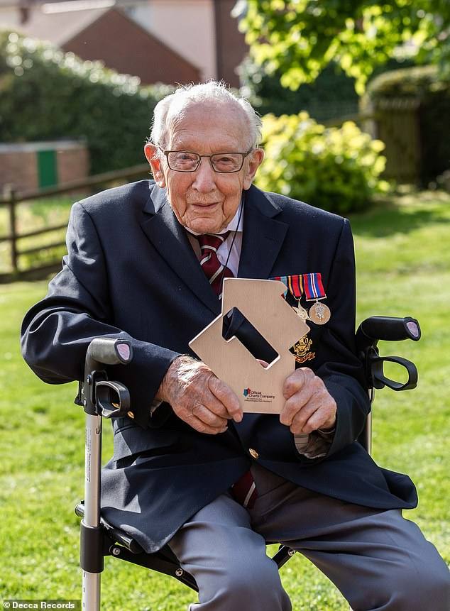 Celebrate: Captain Tom, who captured the heart of the nation with his bid for the National Health Service fundraiser, will keep first place when he celebrates his 100th birthday on April 30 next week