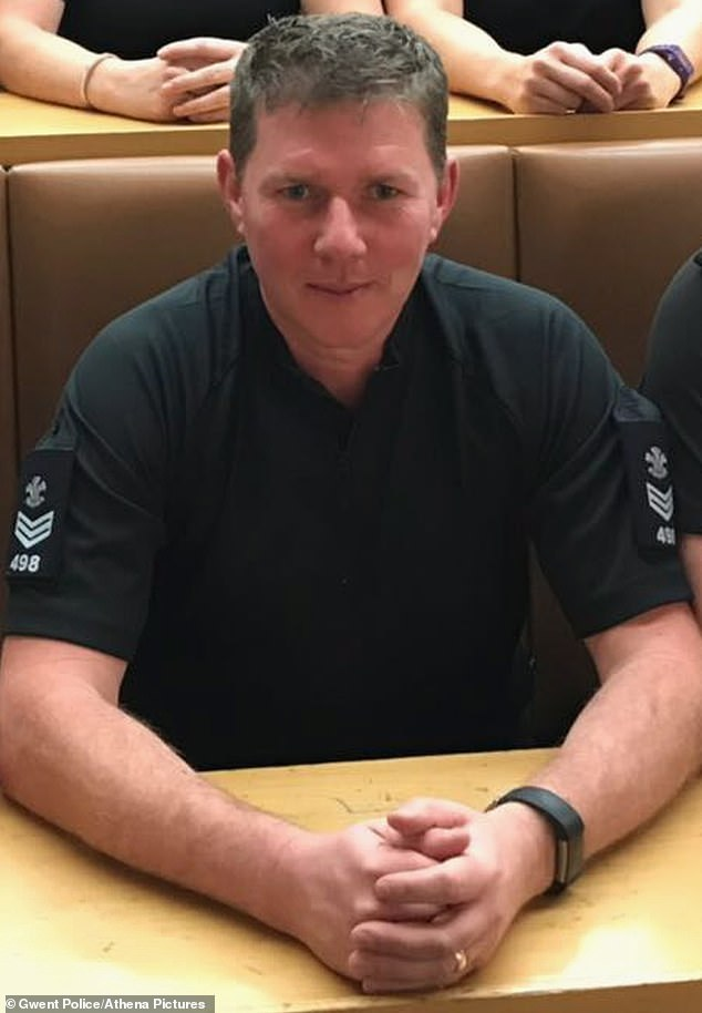 Sergeant Carl Blanks, 47, (pictured) answered a call at a home near Newport, Wales at 5:15 a.m. Thursday when he was stabbed several times.