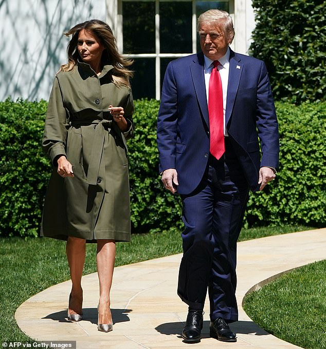 Melania and Donald are seen during their most recent public appearance together at the White House on Wednesday
