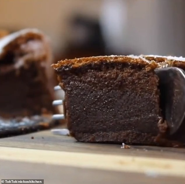 After baking for 35 to 40 minutes, the inside of the cake should look moist and have this light but tasty consistency