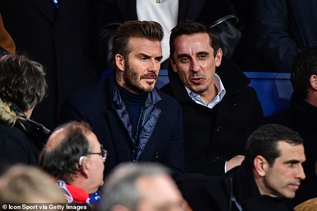 Beckham and Neville watch PSG against Real Madrid in the Champions League in 2018