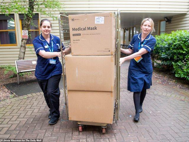 Delivered: Nurses Vicky Burns (left) and Katherine Palmacci wheel in the newly delivered PPE kit at Milton Keynes hospital