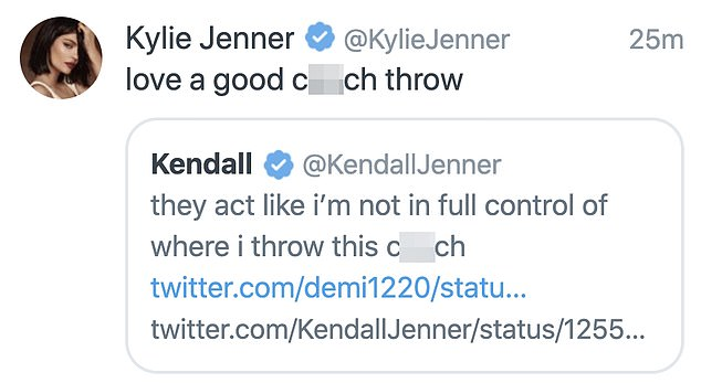 Sisters' support: 22-year-old Kylie Jenner posted this joke supporting Kendall, then deleted it