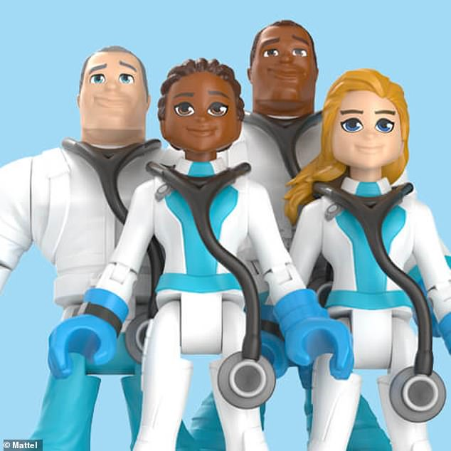 Pictured are figures from the doctors collection from Mattel's new 'Thank You Heroes' toy line
