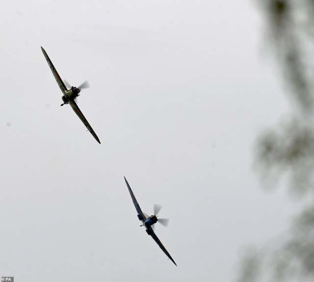 There were two poignant flypasts to mark his big day today – by Army Air Corps helicopters as well as a Spitfire and Hurricane in the Battle of Britain Memorial Flight.