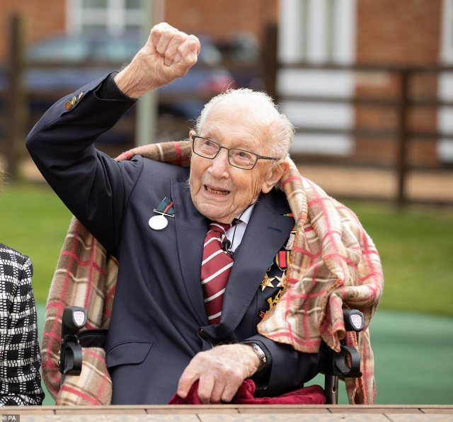 Colonel Tom fist pumped as he watched the flypast in his honour this morning. He said after the event: 'I am one of the few people here who has seen a hurricane fly past in anger, but today, they're flying past in peace.'