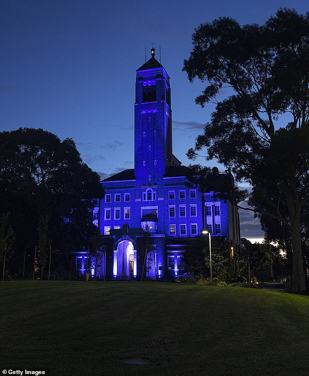 The Police Academy was lit up in blue after the funeral of Leading Senior Constable Lynette Taylor on Thursday. It will remain that way until the last of the officers is laid to rest on Monday