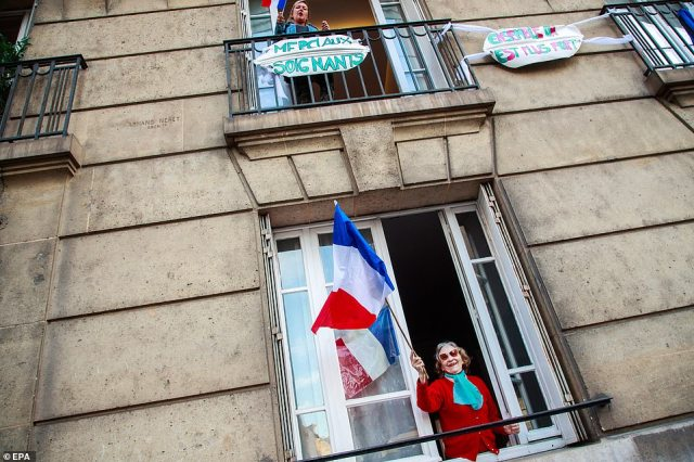 The number of people in hospital with the bug fell to 25,827 from 25,887 on Friday, and the number of people in intensive care with coronavirus fell to 3,827 from 3,878. Pictured: The neighbours in Saint Mande, near Paris