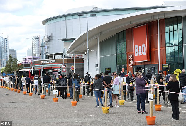 B&Q reopened all of its stores last week, pictured, having closed them at the start of lockdown