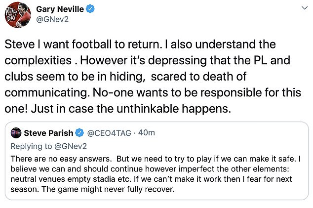 Neville has locked the horns with Crystal Palace president Steve Parish on the subject of speaking