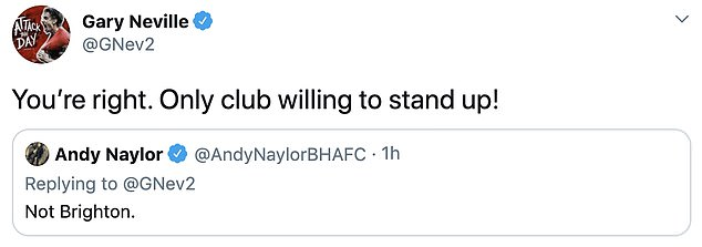 Neville acknowledged, when reminded, that Brighton has released his thoughts on the issue
