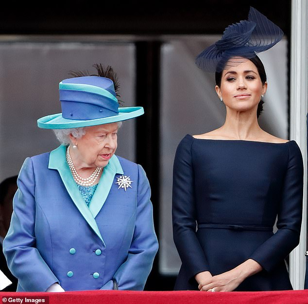 There were fears that the book could be seen as a settling of scores between Prince Harry and Meghan and the rest of the royal family (photo, the Duchess with the Queen)