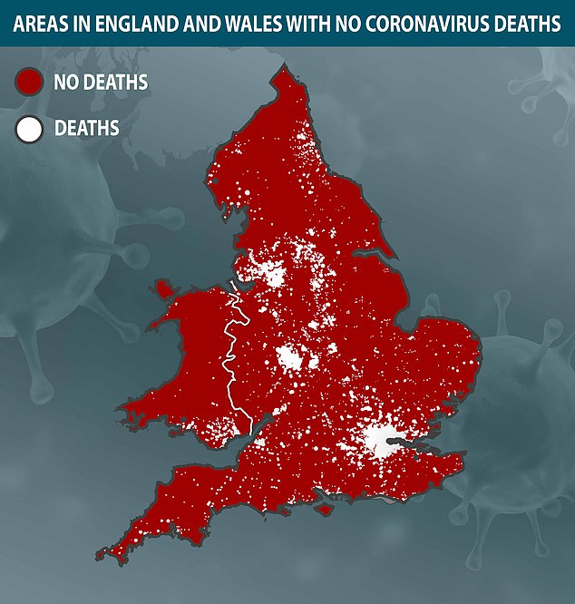 New interactive map reveals coronavirus postal code lottery and reveals large areas in Wales, South West and East of England with no deaths
