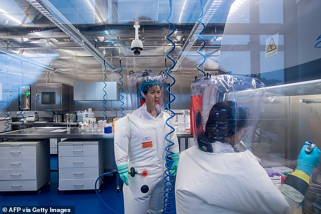 Meanwhile, US President Donald Trump last night pinned the global coronavirus outbreak squarely upon China, which he accused of a state cover-up after making a 'horrible mistake'. FILE:Workers are seen inside the P4 laboratory in Wuhan on February 23, 2017