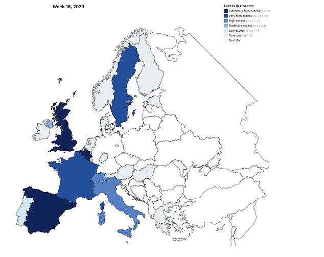 EuroMOMO assigns a so-called Z-score to all the countries in its database, showing the deviation from an average of five years of death. Map shows how different countries recorded different Z scores in week 16, which ended on April 19