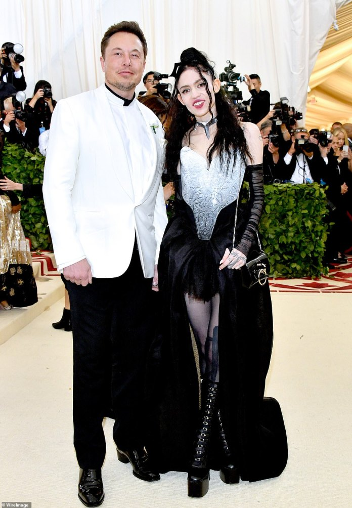 Musk also revealed that his girlfriend, musician Grimes, was due to give birth on Monday. The couple is seen above in New York in May 2018
