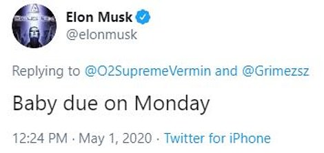 `` Baby expected Monday, '' Tesla CEO also tweeted on Friday.