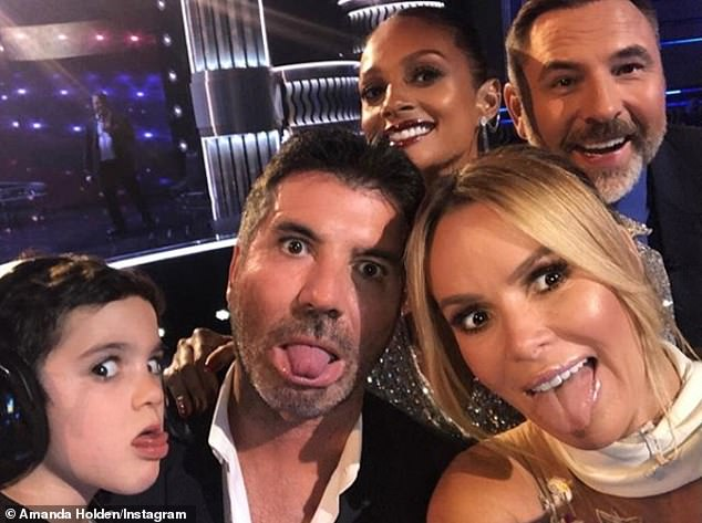 Co-stars: Simon and Amanda are currently playing together with Britain's Got Talent, alongside judges David Walliams and Alesha Dixon - and Simon's son Eric is often on set
