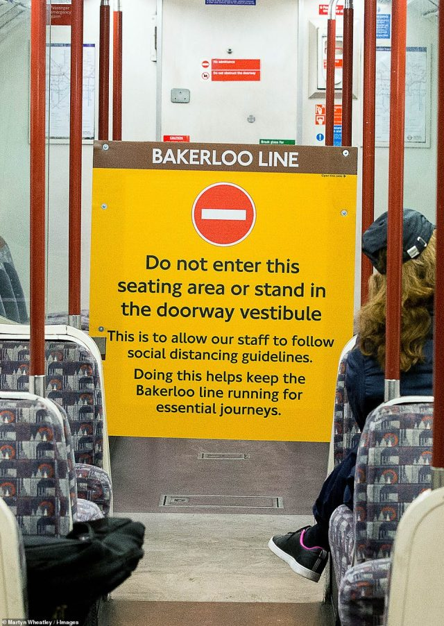 A sign on the Bakerloo Line tells passengers not to enter the seated area behind the drivers cab to comply with social distancing