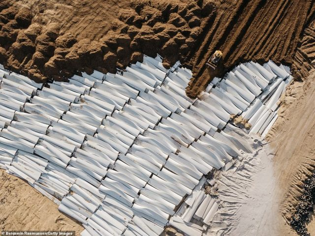 Pieces of wind turbine blades are buried in the Casper Regional Landfill in Casper, Wyoming. Around 8,000 wind turbine blades will need to be removed and disposed of every year in the United States alone