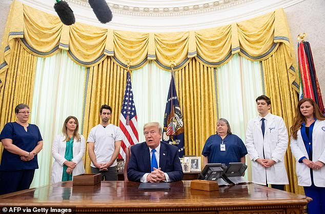 President Trump, surrounded by nurses, said the country has a