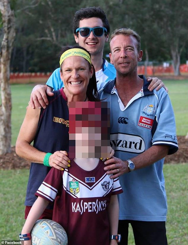 Brisbane man Christopher Steven Tolley (right), 47, was found dead Tuesday in a hotel room in Seminyak after failing at 12:30 p.m. He is pictured with his wife and sons