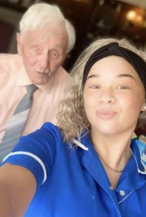 Ken Benbow, 94, burst into tears when Kia Tobin (pictured together) handed him Ada's pillow at the Thistleton Lodge Nursing Home in Preston, Lancashire