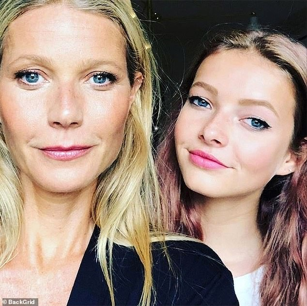 Unique: the founder of Goop named her first child Apple. She is pictured here with her daughter, 15, in a recent shot