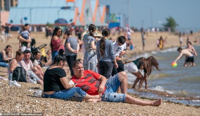 Hundreds of people flocked to the Essex seaside town in groups clearly flouting the government's lockdown guidance