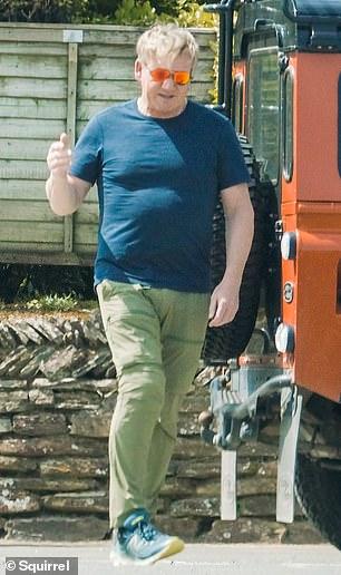 In good weather: the British chef wore bright orange reflective sunglasses