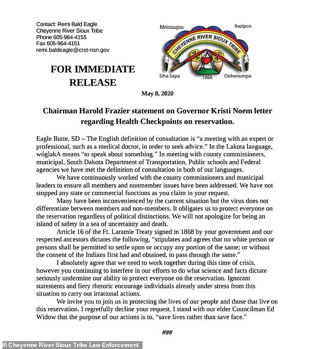 The Sioux tribe of Cheyenne River issued a statement accusing Noem of