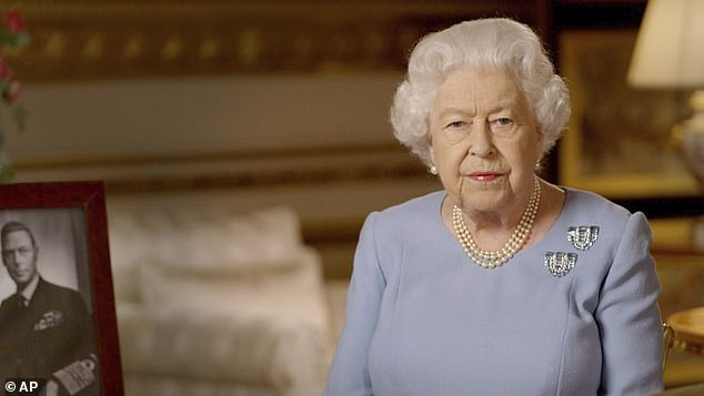 The Queen (pictured speaking to the nation on Victory Day Friday) hosts a weekly audience with the Prime Minister by phone and receives his daily red boxes of government paper