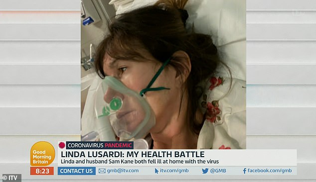 Battle:The former Page 3 model was hospitalised in March alongside husband Sam Kane, 51, after displaying symptoms of the virus, which left her at 'death's door