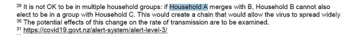 In a footnote, the roadmap explains how three households would not be allowed to mix.