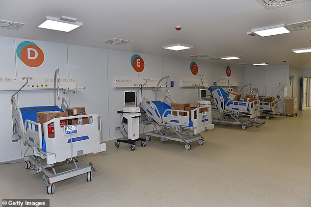 Italy has seen a decrease in the number of patients it treats for a coronavirus as it begins to break out of the lockout. Pictured: Civitanova Marche Hospital, Italy